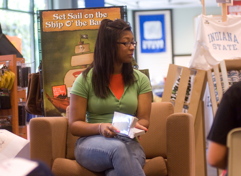 Jade Roy reads Think Big as part of the Banned Books Out loud event held in the bookstore.