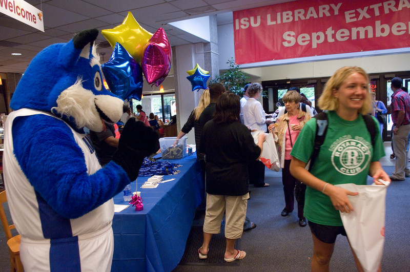 Sophomore Haley Brescher smiles at Sycamore Sam as she enters the Library Extravaganza 2007 held at Cunningham Memorial Library on Thursday, September 6.