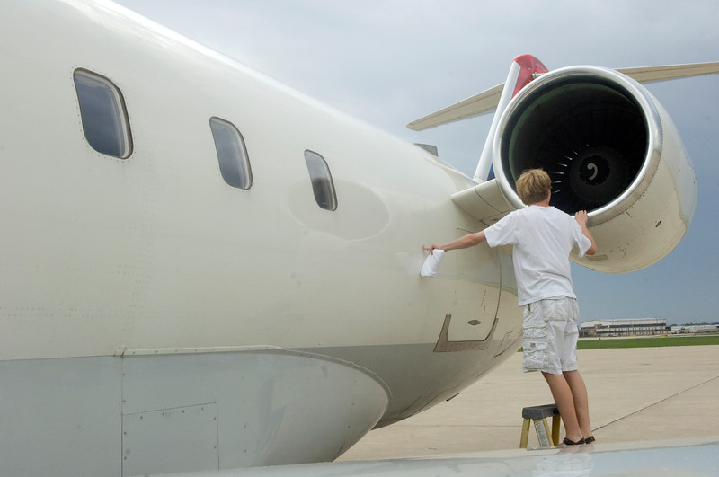 ISU sophomore Ken Branam checks out the ASA jet flewn in for a company visit to meet with students.