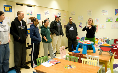 Students on Alternative Spring Break stopped in Memphis, TN to tour St. Jude's Children's Research Hospital. The tour guides pointed the special touches St. Jude's takes to make children comfortable, including the murals on the wall, child size furniture.