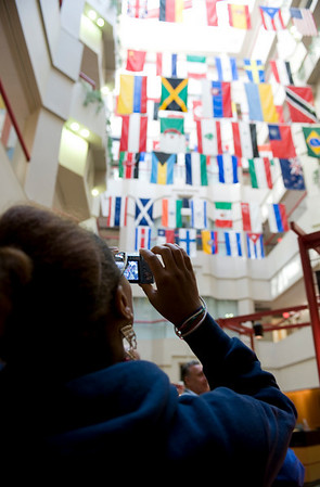 Erica takes a photo of the flags that hang in St. Jude's which represent the countries that staff, physicians and researchers come from.