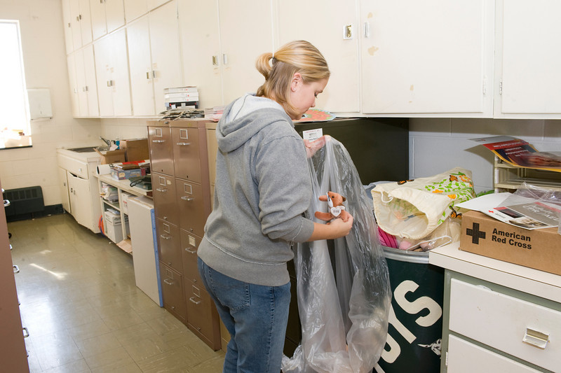 Lori Crowell, senior, bags up donated toys at the American Red Cross on 3rd St.
