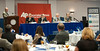 AP Indiana Conference: Higher Ed Panel : Vigo County higher education leaders took part in a panel discussion during the fall meeting of the Indiana Associated Press Managing Editors at Indiana State University. They were questioned on such topics as tuition increases, online education and academic preparation of high school graduates. The panelists were Behrs; Dan Bradley, ISU president; Matt Branam, interim president, Rose-Hulman Institute of Technology; and Jeff Pittman, chancellor, Ivy Tech Community College-Wabash Valley Region.  Photos by Kara Berchem