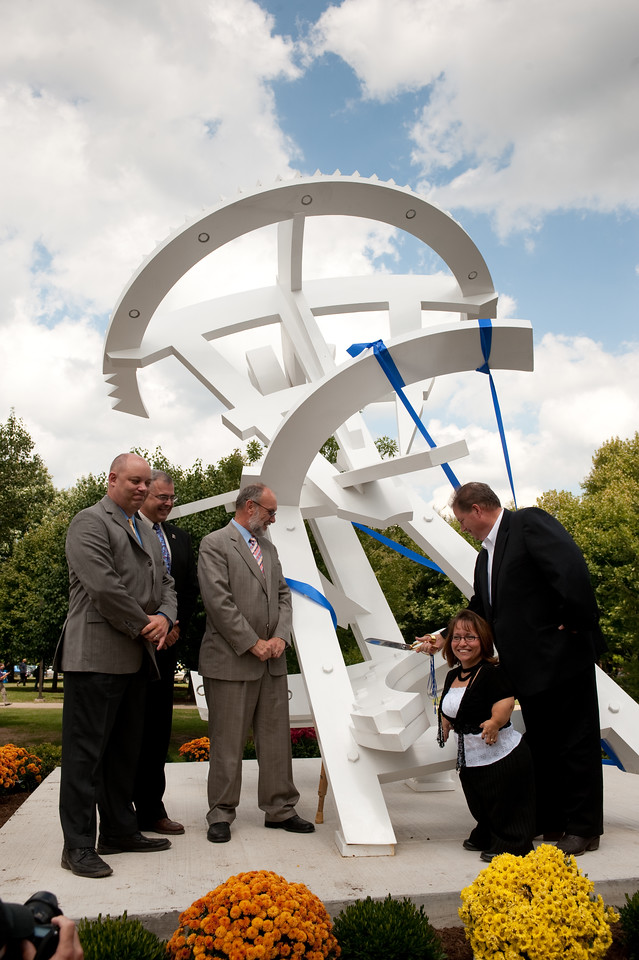 """""""Arthur's Odyssey"""" was created by artist Michael Dunbar and fabricated by 1952 ISU alumna Thelda Livingston Mathews. The white 14-foot stainless steel sculpture is located near the northeast corner of University Hall, the new home of the College of Education."""