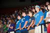 2010 Fall Convocation : New students at Indiana State University filed into Hulman Center Sunday night for Fall Convocation that was part pep rally, part induction ceremony and part motivational seminar. The ISU band, cheerleaders and Sparkettes entertained. The university president and his wife, the Student Government Association president and Miss ISU called on the new arrivals to get involved on campus and ensure their success by calling on faculty, staff and fellow students for help whenever it is needed.  SGA President Steven Flowers led the freshmen in a student oath in which they pledged to devote their energies to the pursuit of truth and learning, build their education in defense of human dignity in opposition to intolerance and conduct their lives in a manner that brings honor to themselves and the university.   Keynote speaker Jason Winkle motivated incoming students by relaying lessons of life he learned by way of everyone from his mother to a popular movie, an Army officer and a motorcycle instructor.