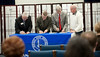 Library Consortium Agreement Signing : Libraries of Indiana State University, Rose-Hulman Institute of Technology and St. Mary-of-the-Woods College have joined forces with Vigo County Public Library to integrate their search systems and allow users to simultaneously search each of the library's holdings.  Photo by Kara Berchem