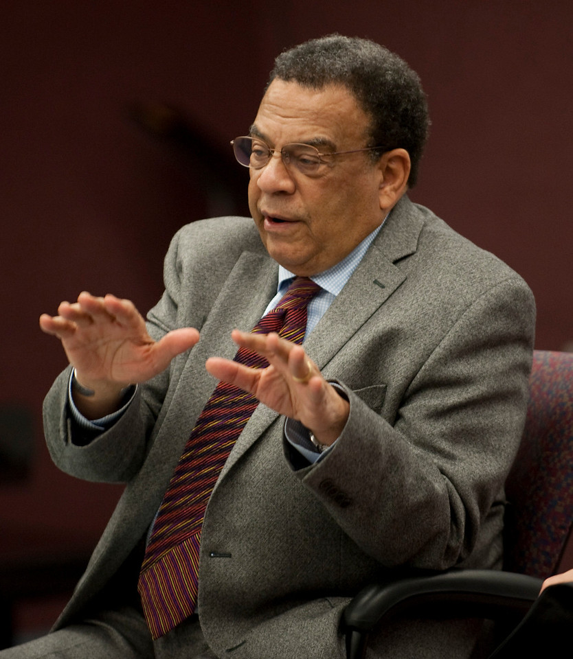 Andrew Young met with students in the African American Cultural Center prior to his evening presentation.