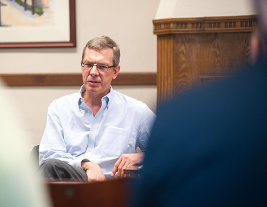 Chris Kojm, Chairman of the National Intelligence Council, visits an International Ecomomics class in the Whitaker Room of the College of Education