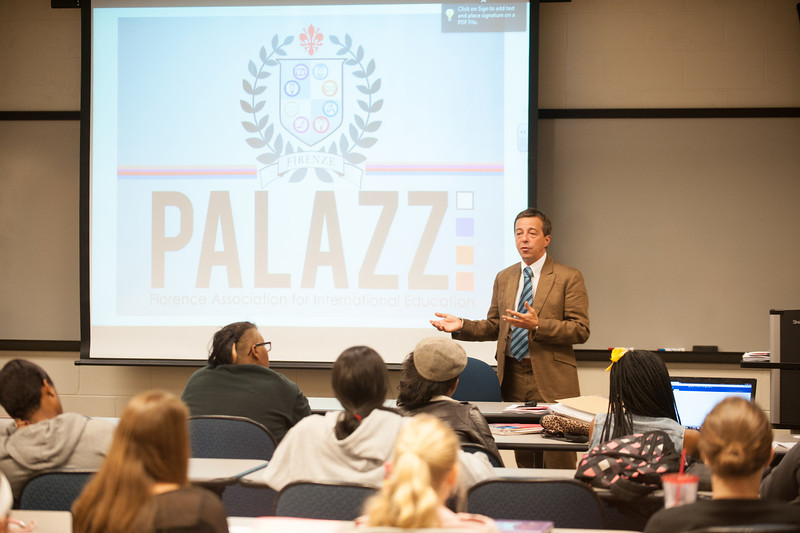 Luca Bucciarelli of Palazzi: Florence Association for International Education, visits with Cheryl Kremer's class