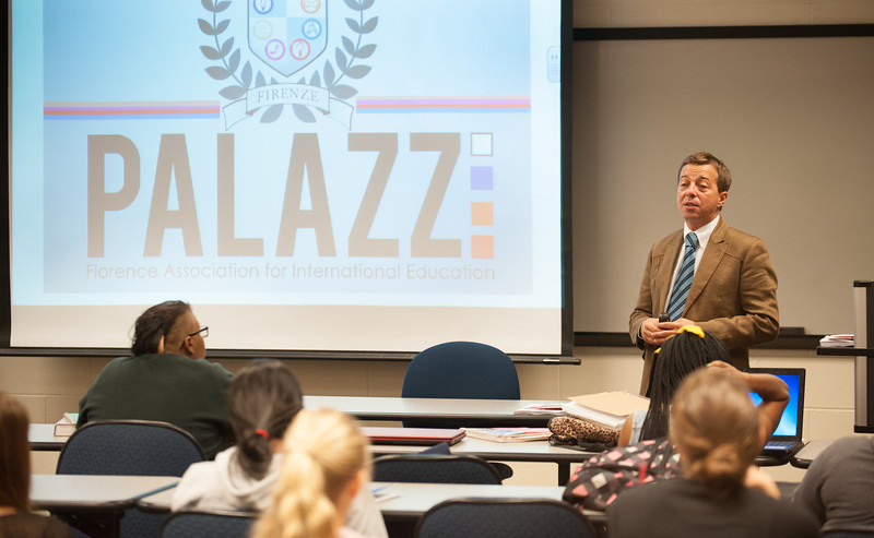 Luca Bucciarelli of Palazzi: Florence Association for International Education, visits with Cheryl Kramer's class