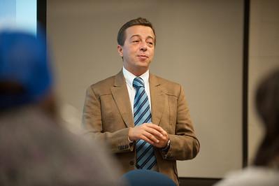 Luca Bucciarelli of Palazzi: Florence Association for International Education, visits with Cheryl Kremer's class