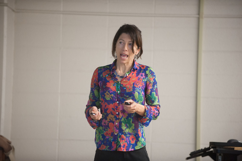 Evolutionary biologist Molly Cummings addresses a crowd gathered in the Science Building as the 5th Annual Women in Science Speaker as part of the Darwin Keynote Speaker Series. She also spoke to a crowd in Tilson Auditorium for the University Speakers Series.