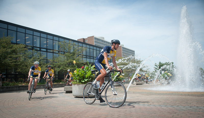 Cyclists with Push America arrive at Dede Plaza as they continue their journey acroos the US.