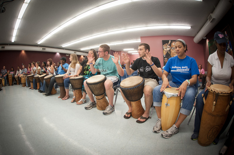 Saakumu Dance Troupe of Ghana performs a hands on African drum clinic for students in the Aftican American Cultural Center.