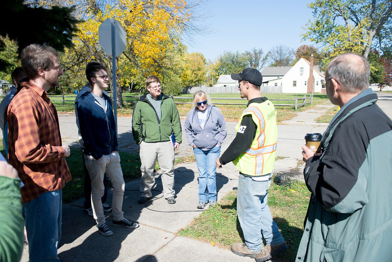 Seismic testing as crews search for oil on Indiana State University's campus. Jeffrey's Stone's classroom observed testing along Tippecanoe Street.