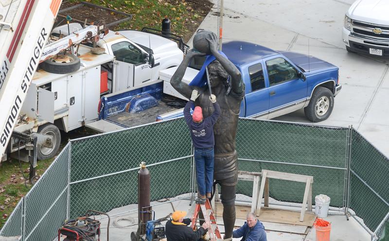 Larry Bird Statue Installation