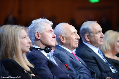 (L-R) Barbra Streisand, President Bill Clinton, Preisdent Shimon Peres, Prime Minister Benjamin (Bibi) Netanyahu at Shimon Peres' 90th Birthday Celebration in Jerusalem