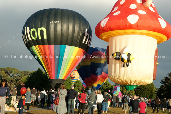 Balloons being inflated and the crowd, Balloons over Waikato, New Zealand, 2010