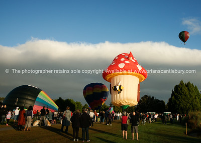 Balloons being inflated and the crowd, Balloons over Waikato, New Zealand, 2010.