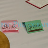 The Bride & Groom name seating tags.