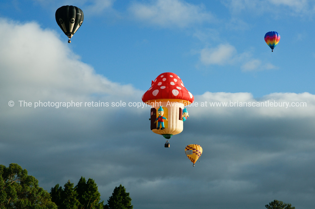 Balloons, hot air flying above Hamilton. Balloons over Waikato, New Zealand, 2010.