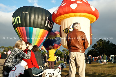 Balloons being inflated and the crowd, Balloons over Waikato, New Zealand, 2010 Model released; no. Editorial and personal use only