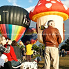 Balloons being inflated and the crowd, Balloons over Waikato, New Zealand, 2010<br /> Model released; no. Editorial and personal use only