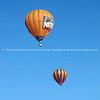 Hot Air Balloons, two against blue sky above Hamilton, Balloons over Waikato, New Zealand, 2010.