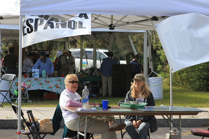 <b>Cynthia Plockelman and Elinor Williams in the Information Tent</b>  Everglades Day, February 11, 2012