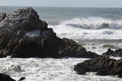 Large waves of the coast of San Francisco at Ocean Beach caused by an earthquake in Chile.  There was a Tsunami warning in San Francisco.