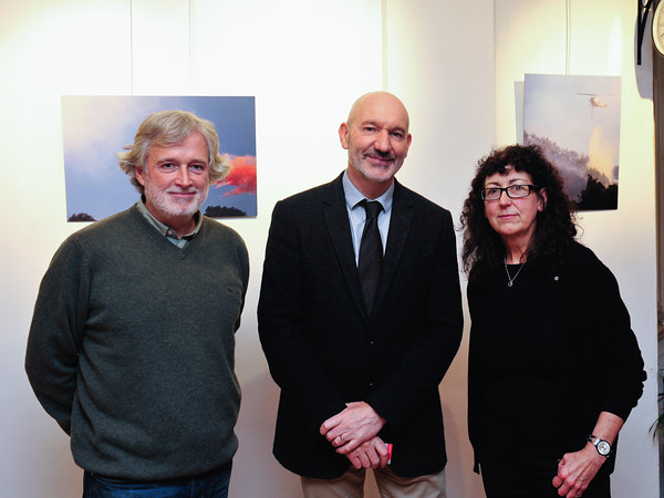 Image features L to R: Tommy Burke, Philippe Milloux, Director Alliance Francaise Dublin and Jenny Lowe.<br /> Photograph: Margaret Brown<br /> <br /> Climat, état d'urgence<br /> Exhibition of the photographs selected by a panel of judges to enter the Alliance Française Dublin's Photography Award. Alliance Francaise Dublin present the works of Sean Breithaupt, Tommy Burke, Ruth Le Gear and Jenny Lowe on the theme Climate: State of Emergency.