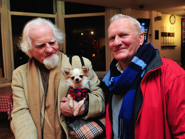 John Pat Colclough with Mario (the dog) and Tom McKenna.<br /> Climat, état d'urgence<br /> Exhibition of the photographs selected by a panel of judges to enter the Alliance Française Dublin's Photography Award. Alliance Francaise Dublin present the works of Sean Breithaupt, Tommy Burke, Ruth Le Gear and Jenny Lowe on the theme Climate: State of Emergency.The winner of the Dublin contest can enter the International photography competition organised by the Fondation Alliance française and be exhibited in Paris with 40 international artists. Exhibition runs from 09 Dec'14 to 06 Feb'15.