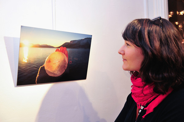 Image features Pauline Silhol viewing the work.<br /> Photograph:Margaret Brown<br /> <br /> Climat, état d'urgence<br /> Exhibition of the photographs selected by a panel of judges to enter the Alliance Française Dublin's Photography Award. Alliance Francaise Dublin present the works of Sean Breithaupt, Tommy Burke, Ruth Le Gear and Jenny Lowe on the theme Climate: State of Emergency.The winner of the Dublin contest can enter the International photography competition organised by the Fondation Alliance française and be exhibited in Paris with 40 international artists. Exhibition runs from 09 Dec'14 to 06 Feb'15.