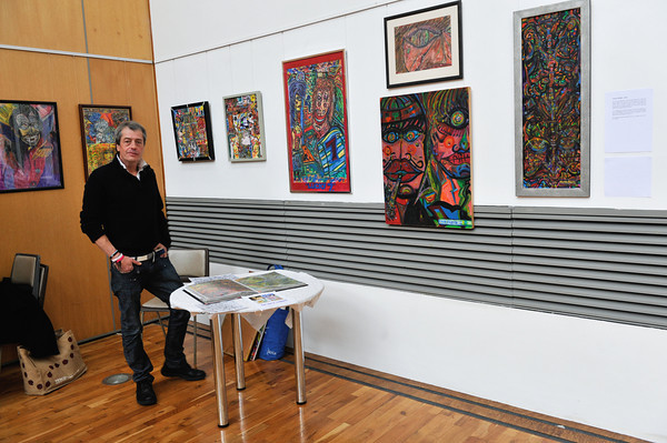 Local Artist Frank O'Keeffe with his artwork on display in SIW Exhibition 2013 which closes Friday 18th October at 6pm.