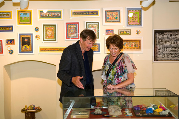 Artists David Leahy and Adrienne Finnerty enjoy browsing through the artwork at the exhibition.<br /> Photograph: Margaret Brown<br /> <br /> Indian Day at St.Enda's Park in Rathfarnham, from 3-5pm Sunday 18th August 2013, celebrating the centenary of Patrick Pearse's association with the Indian poet, Rabindranath Tagore. 'The Sacred Art of Odisha' Exhibition, curated by Jean Doyle opened in the Pearse Museum at 3pm as part of the celebrations and will run until 13th September 2013.