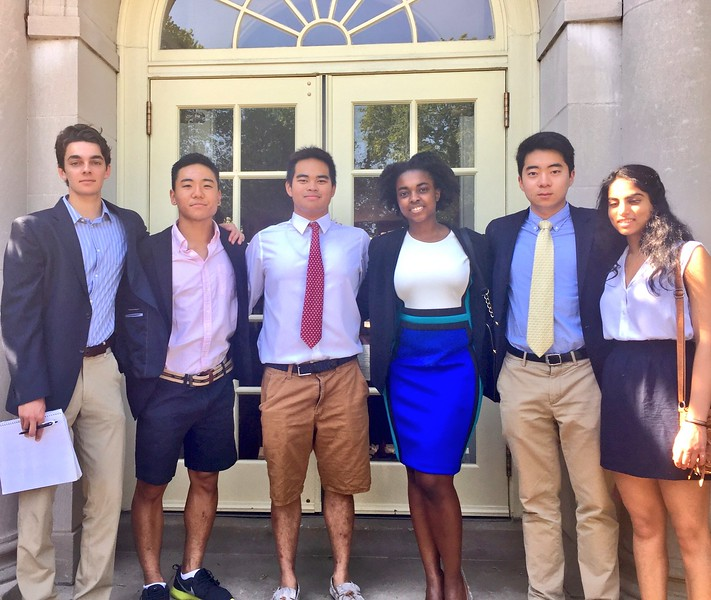 Hartford Shadow Day students: Adin Farhat '17, Eisuke Tanioka '17, Warm Ayanaputra '17, Shanelle Jones '17, Kevin Jung '17, Anika Bhargava '17