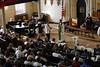 Susan J. Morrison introduces Rev. James E. Taylor, pastor of Mount Vernon Place United Methodist Church.