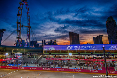 Sunset view of the pit area