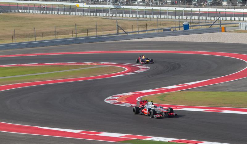 Right after Lewis Hamilton passes Sebastian Vettel to win the inaugural US Grand Prix in Austin, Texas