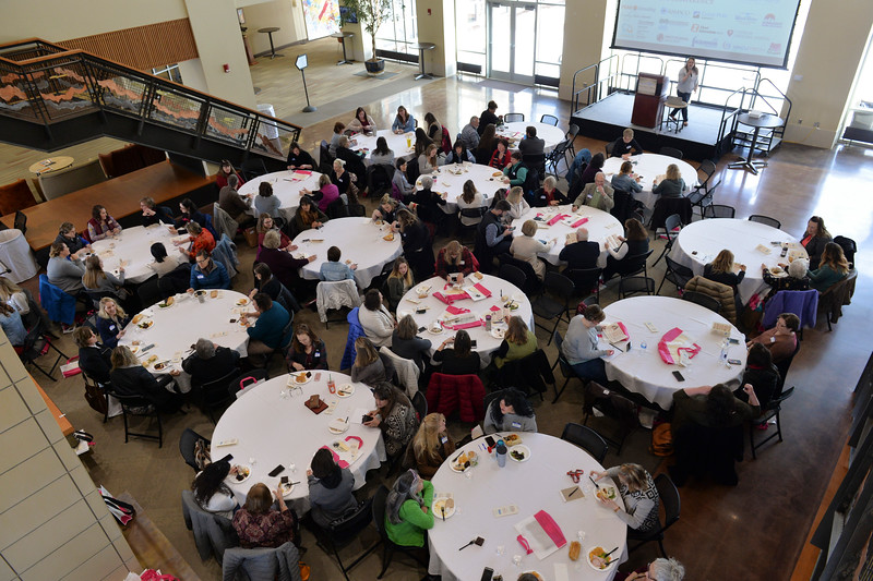 Justin Sheely | The Sheridan Press<br /> Attendees dine and visit during the sixth-annual FAB Women's Conference at Sheridan College Friday, April 6, 2018.
