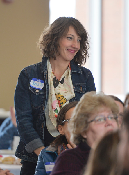 Justin Sheely | The Sheridan Press<br /> Woman of the Year nominee Sarah Heuck Sinclair is introduced during the sixth-annual FAB Women's Conference at Sheridan College Friday, April 6, 2018.