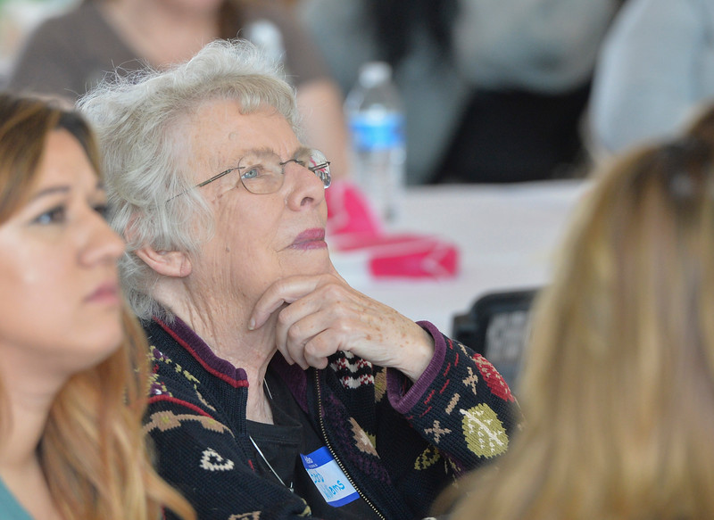Justin Sheely | The Sheridan Press<br /> Woman of the Year nominee Barb Williams listens during the sixth-annual FAB Women's Conference at Sheridan College Friday, April 6, 2018.