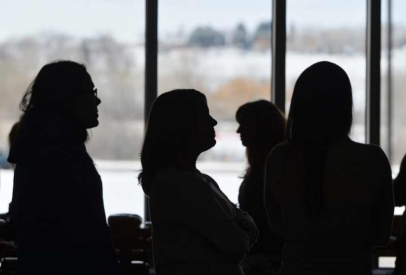 Justin Sheely | The Sheridan Press<br /> Attendees line up at the food table during the sixth-annual FAB Women's Conference at Sheridan College Friday, April 6, 2018.