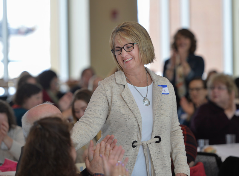 Justin Sheely | The Sheridan Press<br /> Dixie Johnson is named Woman of the Year during the sixth-annual FAB Women's Conference at Sheridan College Friday, April 6, 2018.