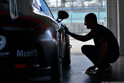 David Tuaty works on the #69 MP1B Porsche GT3 Cup driven by Dan Hardee & David Tuaty of TLM USA
