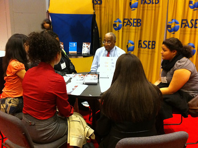Dr. Howard G. Adams provides career counseling and advice to undergraduate students at ABRCMS 2011.