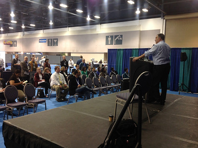 "Joe Tringali and Bill Lindstaedt conduct a ""Q&A"" session following a career development session during the ABRF 2014"