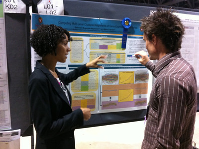 "FASEB MARC Travel Award Winner, Deborah Muganda-Rippchen (University of Wisconsin-Madison) presenting her poster at ISMB 2012 in Long Beach, CA. 07.17.12.  Poster Title:  ""Computing Multi-Level Clustered Alignments of Gene-Expression Time Series"""