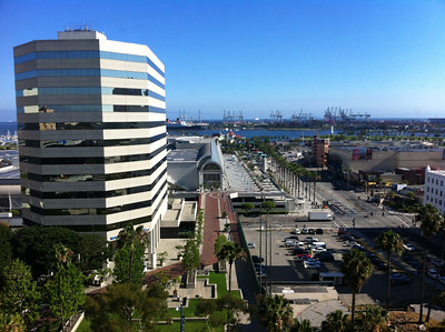 View of Long Beach Convention Center and surrounding area.