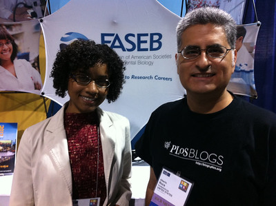 FASEB MARC Travel Award Winner, Deborah Muganda-Rippchen (University of Wisconsin-Madison) and FASEB MARC Peer Mentor, Dr. Alberto Roca, at ISMB 2012.